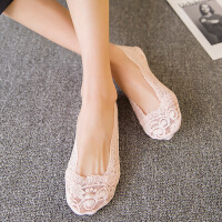 船袜女蕾丝花边女袜薄款浅口隐形袜子棉防滑硅胶女士短袜套 均码