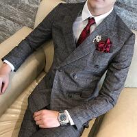 英伦型男格子西服时尚修身男士双排扣西装马甲西裤三件套装新郎服