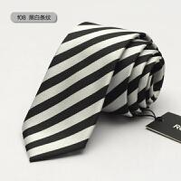男士商务韩版纳米英伦新郎结婚休闲窄6cm正装领带黑 F08 黑白条纹
