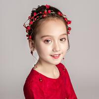 儿童礼服红色发饰头箍花童婚纱珍珠头花发卡女童演出配饰头饰饰品