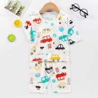 夏季儿童短袖空调服男童女童睡衣宝宝纯棉家居服薄款七分袖套装