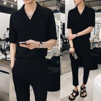 日系潮男五分袖衬衫韩版修身西装领衬衣套装个性复古发型师寸衫男