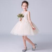 女童蓬蓬纱公主裙夏季白色儿童礼服女孩白色演出服生日