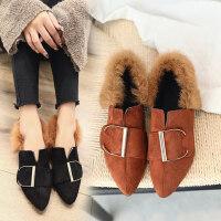 平底小皮鞋子毛毛鞋女秋冬加绒套脚懒人鞋百搭休闲保暖豆豆鞋棉鞋