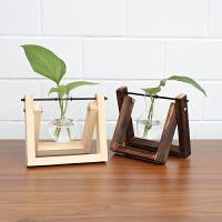 简约办公室桌面摆件花器创意水培绿萝植物透明玻璃花瓶花器
