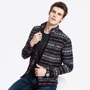 骆驼男装 秋冬新款青年时尚立领摇粒绒休闲针织夹克外套男