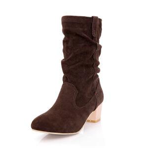 ELEISE美国艾蕾莎新品秋冬188-8-27韩版磨砂绒面中跟女士短靴