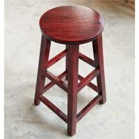 实木吧台椅高脚凳简约休闲凳子复古酒吧高凳圆凳板凳木凳吧凳