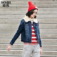 森马短外套 冬装 女士可拆卸保暖毛领加绒牛仔外套韩版潮