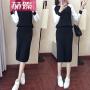 【赫��】针织毛衣连衣裙春秋款2017新款女韩版气质两件套淑女包臀套装裙子H6786