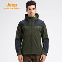 【年终限时特惠】Jeep/吉普 男士秋冬户外夹克连帽开衫薄款拼色外套登山服J652010678
