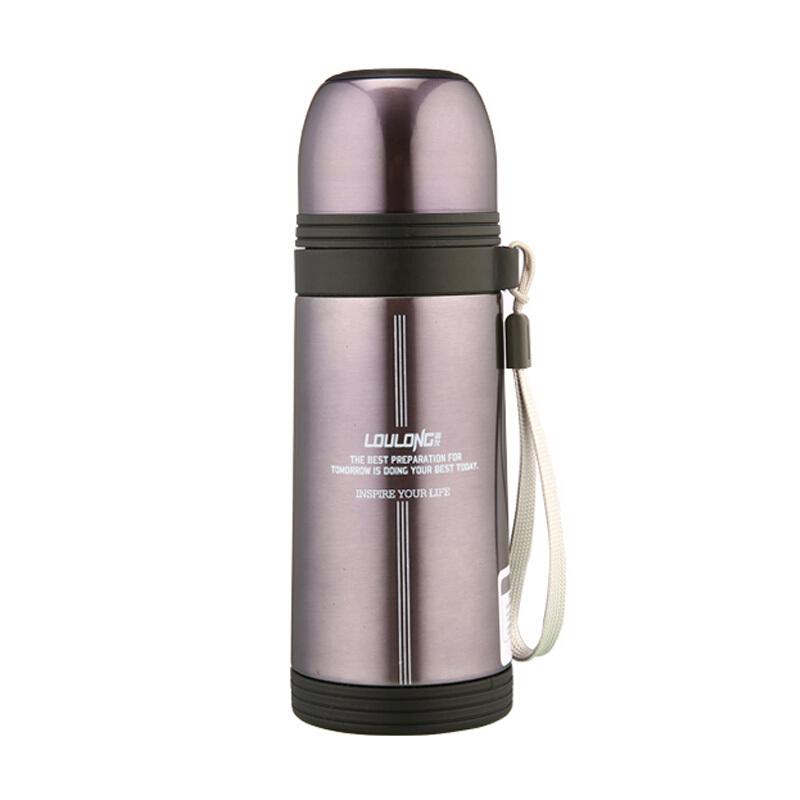 吊带保温杯 头直身保温水壶不锈钢头水壶旅游便携水杯学生杯350ML 淡紫色水杯杯子