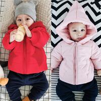 婴儿棉袄冬季上衣红色宝宝加厚冬天男女新生周岁夹棉加绒外出服潮