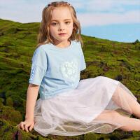 小猪班纳童装女童连衣裙套装儿童网纱裙2020新款夏装两件套中大童