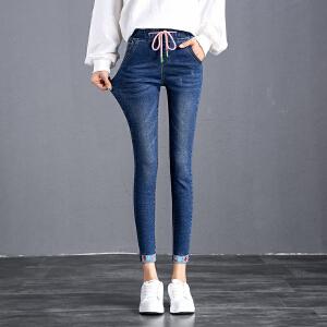 松紧腰牛仔裤女长裤春秋新款韩版显瘦裤子高腰弹力牛仔裤