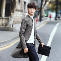新款秋冬男士中长款立领风衣纯色韩版外套男士后开叉大衣