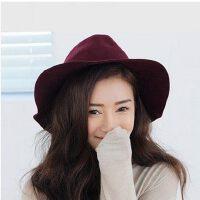 韩版潮女礼帽爵士帽 英伦复古小檐帽子 百搭优雅欧美羊毛呢帽子