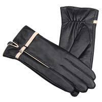 女士真皮手套冬季可爱加厚加绒保暖 羊皮触屏手套 女冬骑车开车