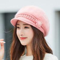 新款可爱百搭鸭舌帽女 时尚潮韩版兔毛帽子女 女士针织毛线帽帽檐