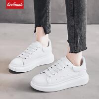 【��惠�r】Coolmuch女士�p便��s四季百搭松糕底小白鞋女生休�e板鞋YCZ6601