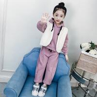 女童洋气套装秋冬韩版秋装中大童马甲潮衣儿童时尚三件套