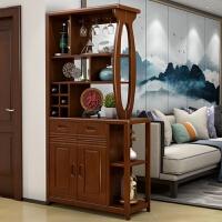 现代中式入户门厅柜小户型全实木客厅隔断柜玄关柜双面酒柜间厅柜 组装 框架结构