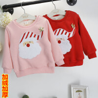 新年圣诞儿童装加绒加厚套头卫衣男童女童上衣2018春冬新款A702 O