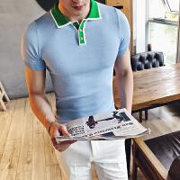 夏季针织短袖T恤青年半袖体恤修身短袖T恤英伦休闲男士POLO衫男