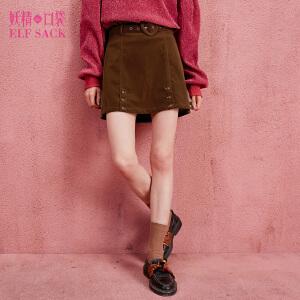 妖精的口袋红桃卡片秋装新款复古绒感A型系腰带短裙半身裙女