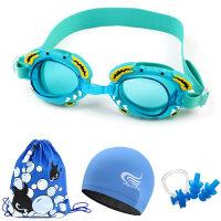 �和�泳�R 防水防�F高清男女童����小螃蟹游泳�R泳帽套�b 游泳眼�R +6110�{色泳帽4件套