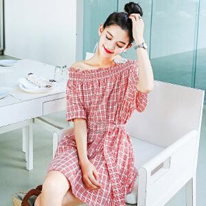 七格格一字肩连衣裙女夏装2018新款韩版a字少女心仙女裙甜美pphome裙子