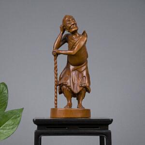 Q47清《黄杨木雕铁拐李》(纯手工雕刻、雕工巧妙、栩栩如生、包浆丰厚)