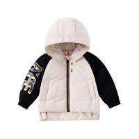 小猪班纳童装女童羽绒服2019新款洋气宝宝连帽外套儿童冬季拉链衫