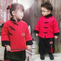 儿童唐装宝宝中国风套装2017冬装新款过年衣服新年装男女童二件套