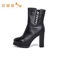 红蜻蜓新款秋冬季粗跟袜小短靴高跟女鞋瘦瘦百搭马丁靴