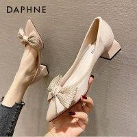 达芙妮粗跟法式高跟鞋女2021年春新款蝴蝶结网纱尖头浅口单鞋