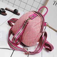 欧美时尚女包2018新款潮流织花帆布彩带粉色双肩包单肩斜挎包