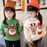 新年圣诞儿童装加绒加厚卡通卫衣男童女童上衣2018春冬新款C829 O