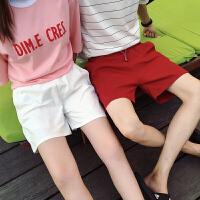 的五分裤情侣夏季韩版休闲短裤男士纯色宽松沙滩裤学生潮
