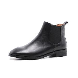 ELEISE美国艾蕾莎新品秋冬191-1898韩版头层牛皮平跟女士切尔西靴短靴