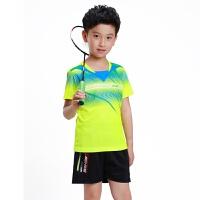 新款儿童羽毛球服套装男童速干网球女乒乓球比赛运动队服球衣定制 绿色 儿童绿色