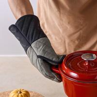 奇居良品 卡林硅胶布艺烤箱微波炉烘培手套 防烫隔热耐高温手套