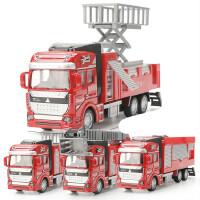合金消防车玩具套装云梯车升降救援车模型男孩儿童宝宝回力工程车组合玩具
