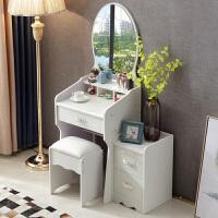 欧式梳妆台卧室现代简约迷你50cm多功能经济型小户型收纳柜化妆桌家具T 米白色50宽(桌子+妆凳+柜子) 一套 组装