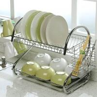 厨房用品多功能S型双层碗碟架/碗架9字型碗架餐具架/厨房收纳双层置地接水盘碗柜筷筒杯子架碗碟架/碗架