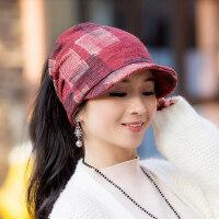 帽子女韩版时尚潮套头帽百搭鸭舌帽漏马尾包头头巾帽堆堆帽