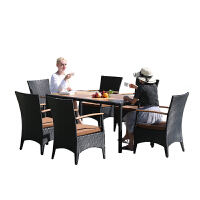 户外桌椅藤椅阳台柚木实木塑木藤编桌椅庭院休闲室外咖啡桌椅组合