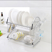 S型多功能碗架 双层沥水置物架 沥水架 碗碟架带托盘碗碟架杯架砧板架双层厨房碗架置物架家用S型