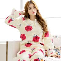 雪俐睡衣女冬季韩版女士家居服长袖玉米绒睡衣居家服