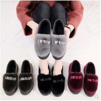 新款 豆豆鞋毛毛鞋女鞋子加绒韩版百搭学生平底保暖棉鞋